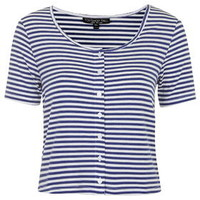 TALL Button Front Stripe Top - Blue