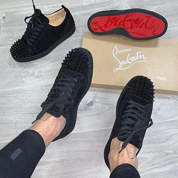 Christian Louboutin Man Women Low-Top Sneakers Spikes Shoes Casual Suede