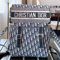 Dior Fashion New More Letter Print Canvas Backpack Bag Book Bag