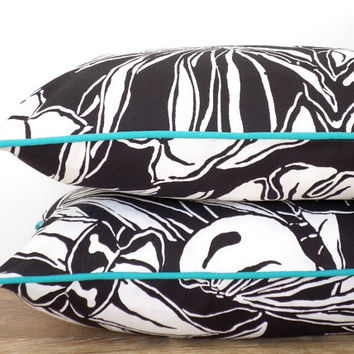Tropical print outdoor pillow cover , modern black lumbar case 20x12, black and white outdoor pillow turquoise piping, beach cushion