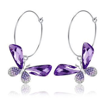 Butterfly Hoop Swarovski Elements Crystal Earrings - Purple