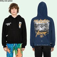 Off-white hot seller of casual couples' craft printed hoodies and fashionable hoodies