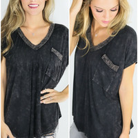 The Watchtower Black Acid Wash V-Neck Tee With Contrast Crochet Trim & Pocket