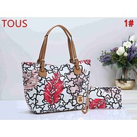 TOUS Newest Trending Women Leather Handbag Shoulder Bag Set Two Piece 1#