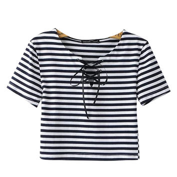Stripe Lace-up Cropped Top