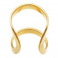 Sterling Silver Gold Tone Cuff Ring
