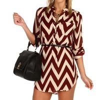 Sale-burgundy Chevron Belted Tunic