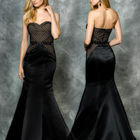 Colors 1578 Sweetheart Satin Striped Mermaid Prom Evening Dress