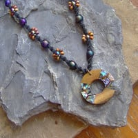 Black Hemp Necklace - Wood Circle Shell Inlay - Beaded Hemp Jewelry