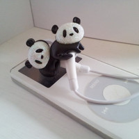 Sweet Black and White Panda Earbuds