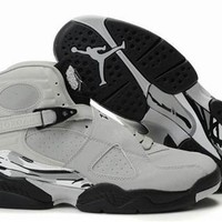 Cheap Air Jordan 8 Retro Men Shoes Glow Vamp Grey Black White