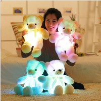 50cm Light Up LED Teddy Bear Stuffed Animals Flashing Plush Toy Colorful Glowing Teddy Bear Gift for Kids Home Decoration