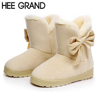HEE GRAND New Hot Sale Women Boots Solid Bowtie Slip-On Soft Cute Women Snow Boots Round Toe Flat with Winter Shoes XWX1385