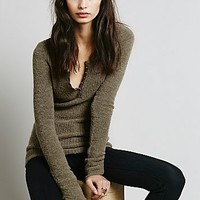 Free People Womens Rouched Sleeve Henley