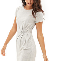 LOVE 21 Drapey Heathered Sheath Dress Heather Grey