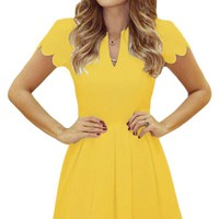 Yellow Sweet Scallop Pleated Fit and Flare Skater Dress