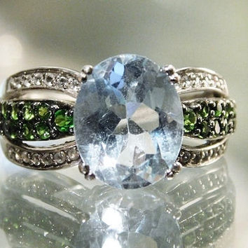 Vintage Blue Topaz Ring 3.50 Ct Sky Blue Topaz and Emerald Green Chrome Diopside Ring Genuine Natural Gemstone 925 Sterling Silver Size 6