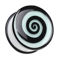 Glow in the Dark Hypnotic Swirl Single Flared Ear Gauge Plug