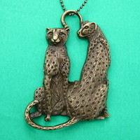 Leopard Tiger Cheetah Detailed Animal Charm Necklace in Bronze from Dotoly