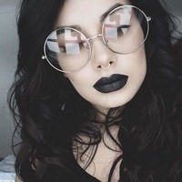 Vintage Retro Clear Lens Metal Oversized Round circle Glasses