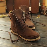 New Women Brown Round Toe Flat Casual Ankle Martin Boots