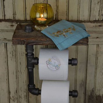 Industrial Iron Pipe Double Toilet Paper Holder