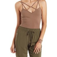 Olive Strappy Caged Bodysuit by Charlotte Russe