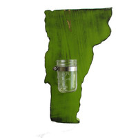 Vermont Mason Jar Vase State Shape Vermont Cut Out Rustic Wall Decor  Housewarming gift Wedding gift Rustic chic Sconce flower candle holder