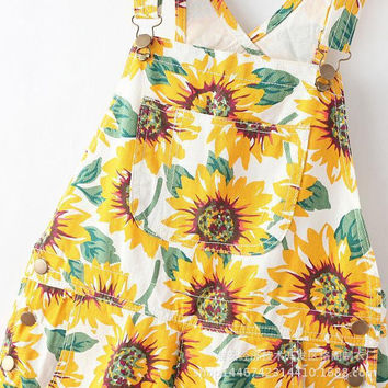 Sunflower Strappy Rompers [7279009287]