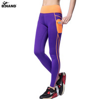 2016 Push Up Spandex Yoga Pants With Side Pocket Patchwork High Waist Elastic Leggings Gym Workout Clothes Women Running Pants