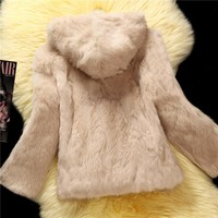 Hooded natural rabbit fur coats outerwear women whole skin real fur jacket woman genuine leather fur overcoat 2018 autumn winter