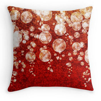 Red White and Gold Bubbles Scatter Cushion, 16x16, Xmas Decor, Red and Gold Cushion Cover