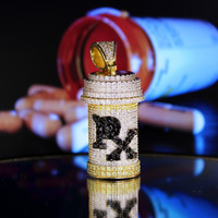 """14k Gold Finish Iced Out RX Medicine Prescription Bottle Removable Cap New Sterling SIlver Free 24"""" Chain"""