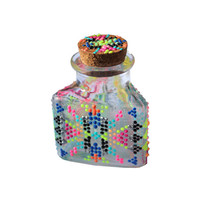 Glow in the Dark, Aztec, Triangular, Pink, Orange, Yellow, Green, Blue, Turquoise, Silver, Black Hand-Painted, Glass Stash Jar