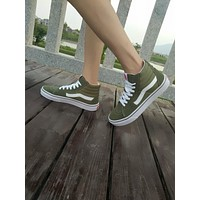 Vans old skool DT SK8-Hi Army Green High Top Men Flats Shoes Canvas Sneakers Women Sport Shoes
