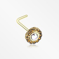 Golden Freya Flower Filigree Sparkle Icon L-Shaped Nose Ring
