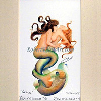 "Grace & Harmony Mermaid Couple LGBT Art Signed Robert Kline Matted 5"" x 7"" Print Nautical Fantasy Beach House Home Decor Collectible"
