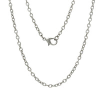 """Jewelry Necklace Silver Tone Cable Chains Lobster Clasp 62cm(24 3/8"""") long, 12 PCs 2015 new"""