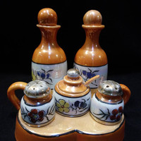 Vintage Lusterware Condiment Set, Takito Company, Oil and Vinegar Cruets and Salt and Pepper Shakers , Mustard Pot, Made in Japan (1427)