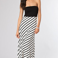 Strapless Black and White Striped Summer Maxi Dress