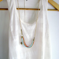 Wiggly - boho chic Red turquoise golden antique bronze style long necklace