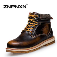[ZNPNXNShoes] 2015 New Men Winter Boots Red Genuine Leather Lace Up Ankle Boots Men Botas