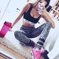Slim Winter Stripes Gym Casual Leggings [9328128452]