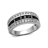 Dark Horse - Women's Stainless Steel Ring With Black And Clear CZ Stones