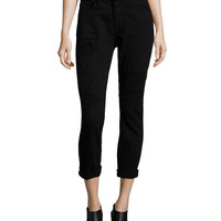 Ryder Obsidian Repair Cropped Skinny Jeans, Black, Size: