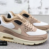 """ Nike Air Max 90"" Unisex Sport Casual Fashion Leather Surface Air Cushion Running Shoes Couple Sneakers"