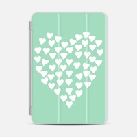 Hearts Heart White on Mint iPad Mini 1/2/3 case by Project M   Casetify