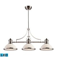 Chadwick 3-Light Island Light in Polished Nickel with Gloss White Shade - Includes LED Bulbs