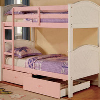 Nantucket Pink and White Cottage Bunk Beds