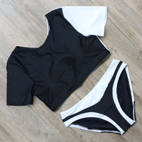 Black White Push Up Bikini Set Bathing Suit Beach Swimming Suits